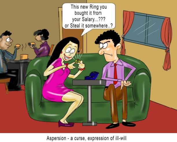 Aspersion a curse expression of ill-will