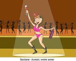 Bacchanal drunkard reveller woman