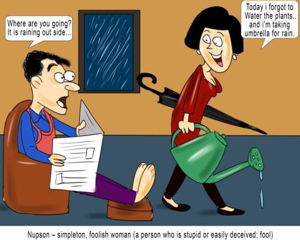 Nupson simpleton foolish woman