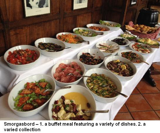 Smorgasbord buffet meal featuring variety of dishes