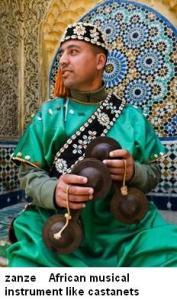 zanze African musical instrument like castanets