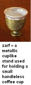 Zarf metallic cuplike stand to hold handleless coffeecup