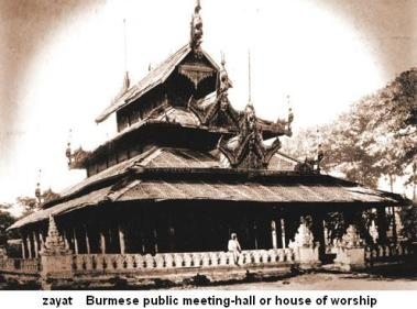 zayat  Burmese public meeting-hall house of worship