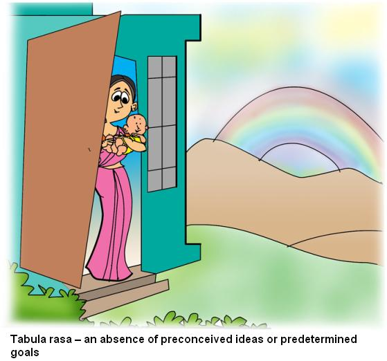 Tabula rasa an absence of preconceived ideas or predetermined goals